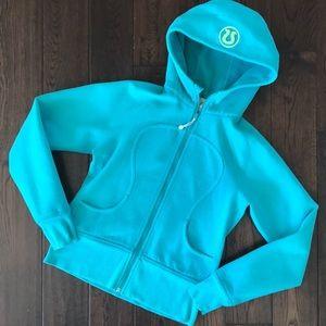 Lululemon turquoise blue hooded zip sweatshirt sz6